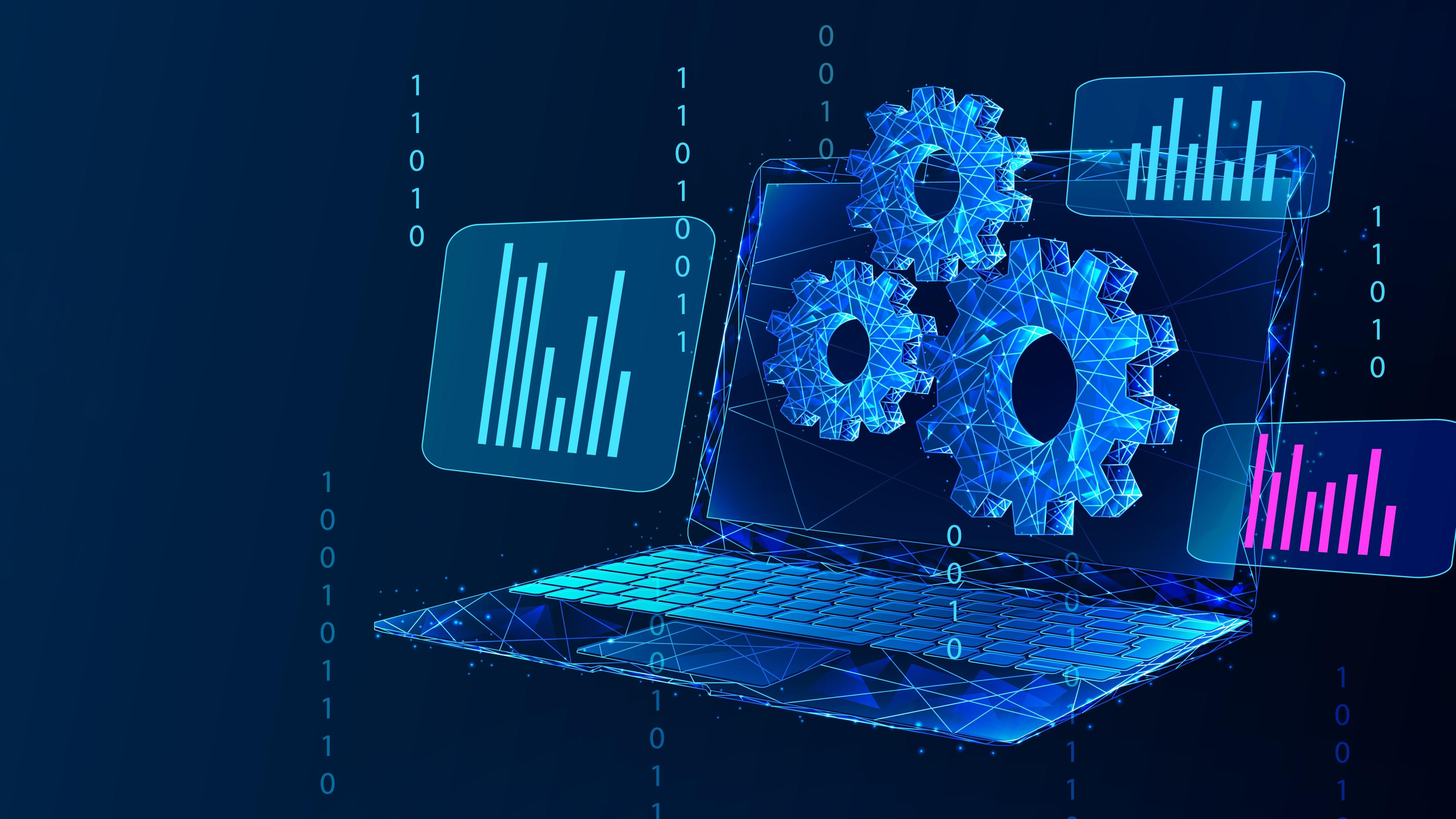 blue laptop with three cogs in front of the screen and bar charts